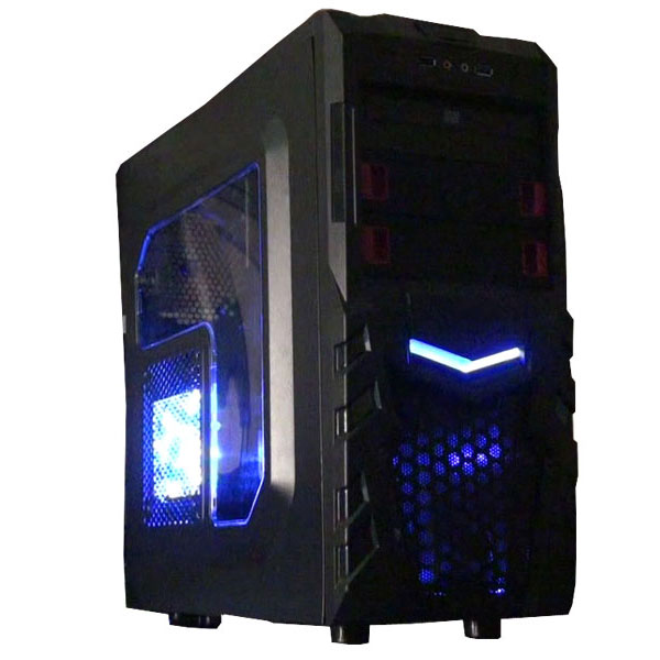 ATX Gaming Case w/ Blue LED Fan - Customized Gaming PC