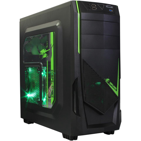 DIYPC Ranger-R8-G Black/Green USB 3.0 ATX Mid Tower Case - Customized Desktop PC